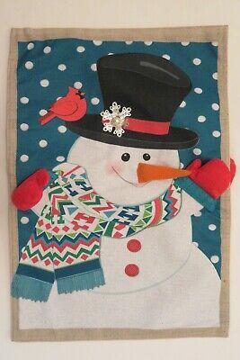 Winter Snowman with Red Mittens, Cardinal, Burlap -look, decorative Garden flag