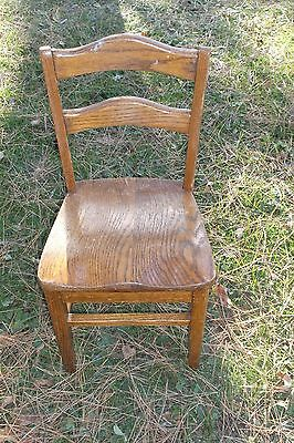 "e. Old Wood Childs School Chair  25 3/4"" High Back Center  12 7/8"" W Front Seat"