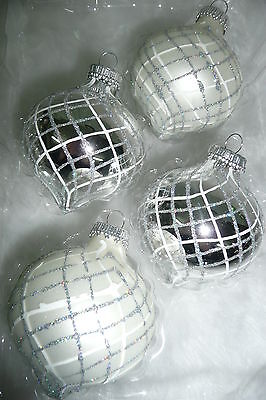Spitzkugel Christbaumkugeln Weihnachtskugeln Christbaumschmuck Glas silber weiß