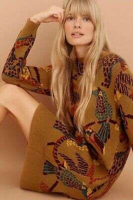 NWT Anthropologie Farm Rio Casey Tunic Sweater Dress Maize Size L Large