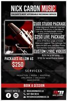 Full Recording Packages starting at $250!