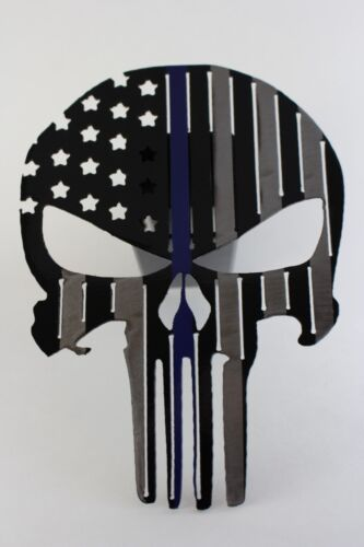 Punisher flag trailer hitch cover black with a blue line