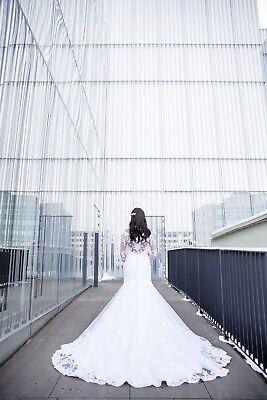 Wedding Dress Embellished Illusion Bateau Long Sleeve Fit&Flare White (Long Sleeve Fit And Flare Wedding Dress)