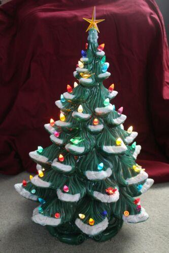 """Vintage 1980 Atlantic Mold Ceramic Lighted Flocked Christmas Tree - 20"""" Tall"""