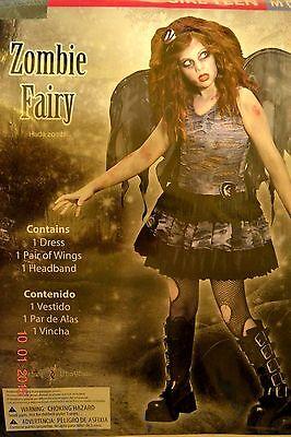 Fairy Costume Teen (Girls Teen Juniors Zombie Fairy Gothic Halloween Costume Size Medium 9-11-)