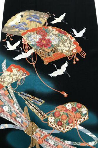 @@Japanese vintage kimono/ tomesode black silk fabric/ cranes, ribbons A68