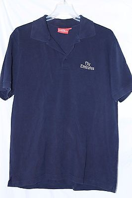 FLY EMIRATES Airlines dark blue polo shirt sz L FREE SHIPPING