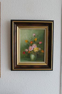 Gemälde, Oel auf Leinen, Blumenstrauß, signiert Fielda ?