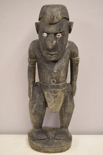 Papua New Guinea Ancestor Male Statue Figure Shell Eyes Sepik Kambot Village