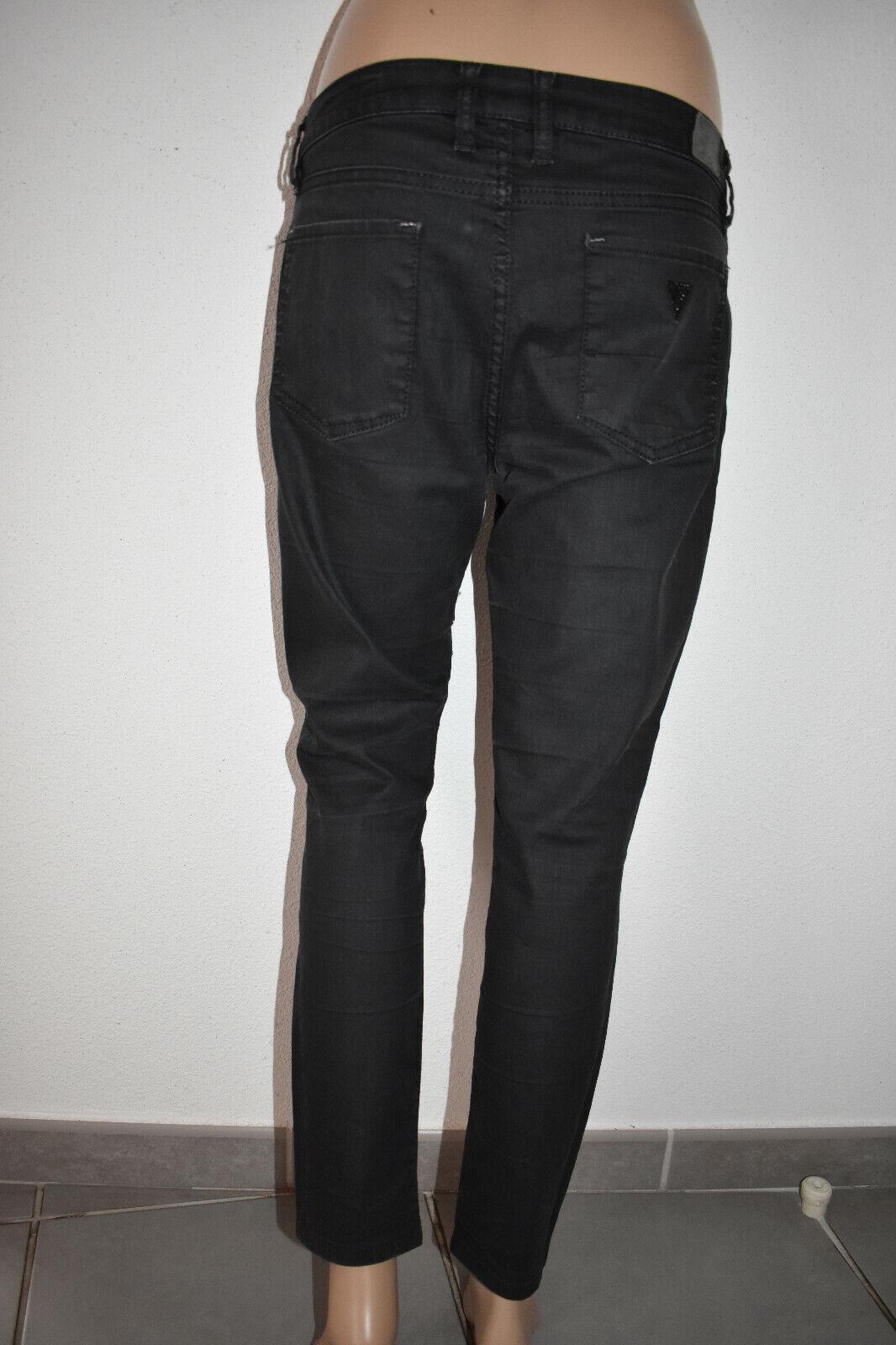 Guess femme jean annette skinny denim ciré noir gris 36-38-s / 29