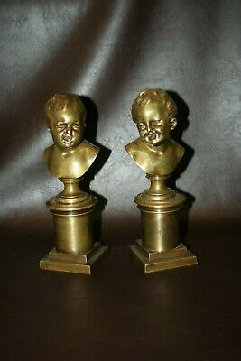 """Pair Odd Antique English Style Heavy 10"""" Brass Ugly Baby Face Figure Bookends, used for sale  Renton"""