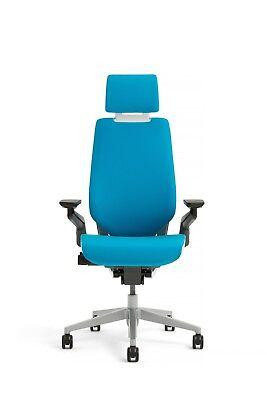 New Steelcase Gesture Chair Adjustable Headrest Wrap Back Light Frame Blue Jay