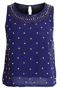 Ladies Sequin Pearl Beaded Chiffon Silk Sleeveless Vest Women's Top 8 10 12 14