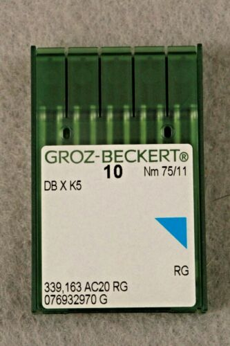 20 QTY GROZ BECKERT INDUSTRIAL EMBROIDERY MACHINE NEEDLES DBXK5 10 REGULAR 75/11