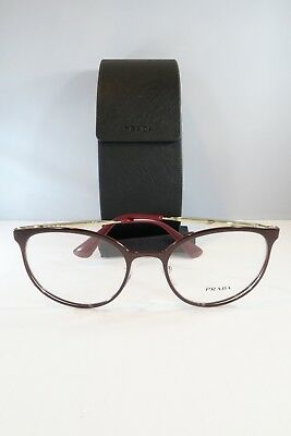 Prada Women's Burgundy/Gold Glasses with case VPR 53T UF6-1O1 52mm