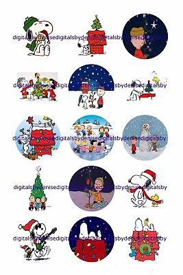 Peanuts Christmas 1  Circles  Bottle Cap Images   2 45  5 50   Free Shipping