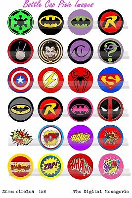 20mm Marvel Dc Super Hero Symbols, Shields & Comic book Fight  words  24 Images