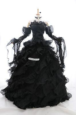 a-010 XL/XXL Braut schwarz Victorian Cosplay Kostüm Gothic Ballkleid -