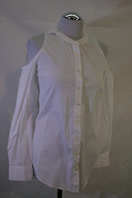 ITALY Bluse cut out shoulder weiß Gr. XS  272/76  *Bitte messen*