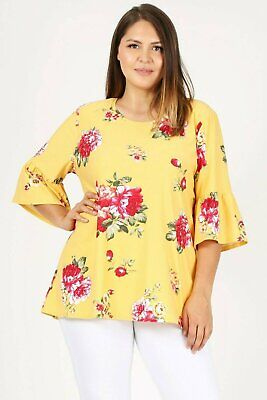 Women Plus Size Flower Floral RUFFLE SLEEVES TOP Bell Sleeves 1XL 2XL -