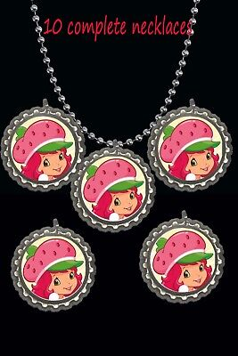 strawberry shortcake theme Bottle Cap Necklaces party favors lot of 10 -