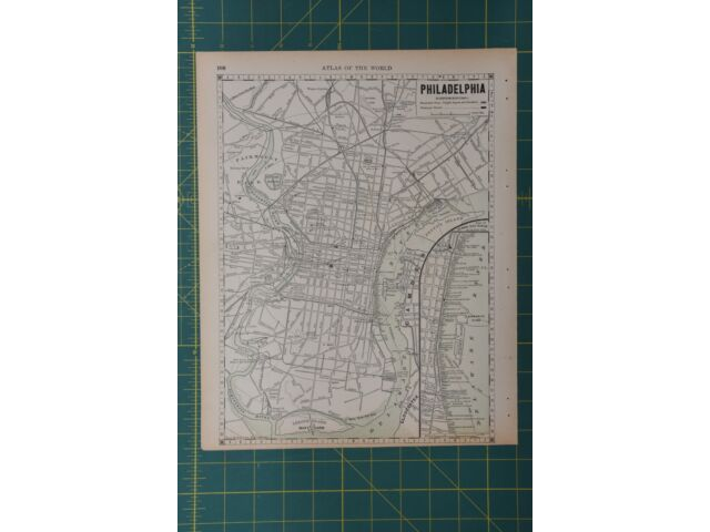 Philadelphia Pennsylvania Vintage Original 1892 Rand McNally World Atlas Map Lot