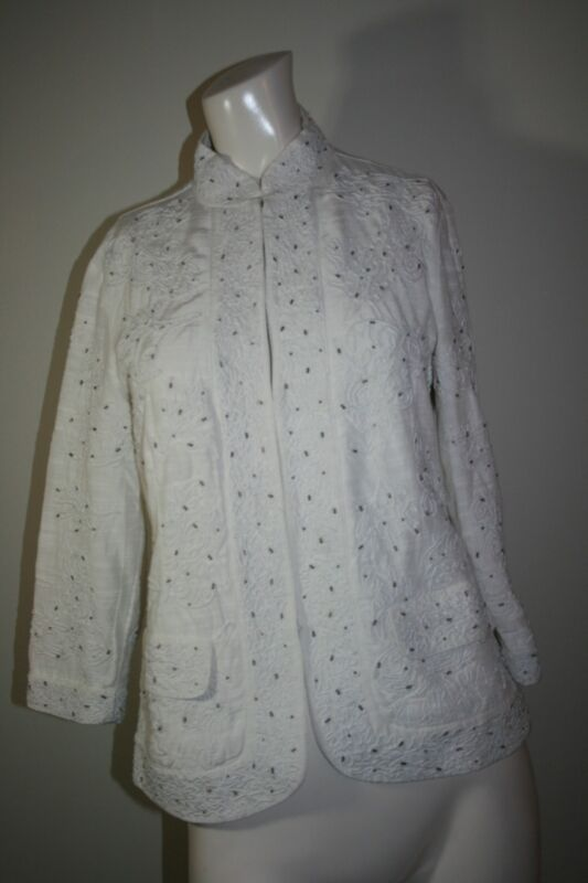 Chico's Beaded Embroidered Floral Cream Jacket Small