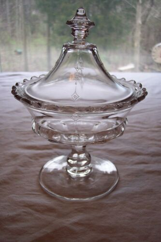 Antique 1870's Dart Pattern Compote w/ Lid