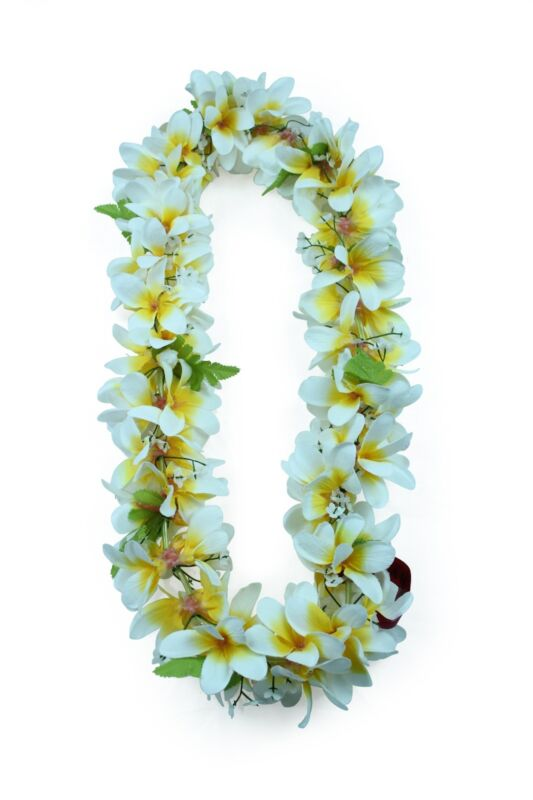 Hawaiian Lei Party Luau Floral Plumeria Flower Dance Hawaii Yellow White