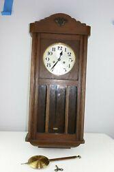 STUNNING LARGE HAMBURG AMERICAN CLOCK COMPANY - WOODEN WALL CLOCK