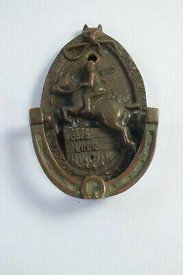 Vintage Brass Good Luck Door Knocker - Horseshoe / Horse & Rider Design