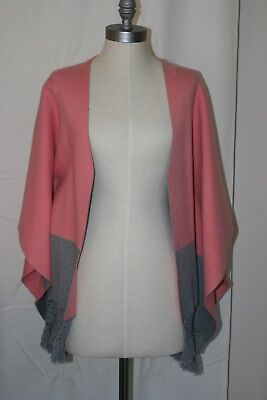 Roffe Sweater Anthropologie Poncho Pink Gray ~ NWT ~ O/S