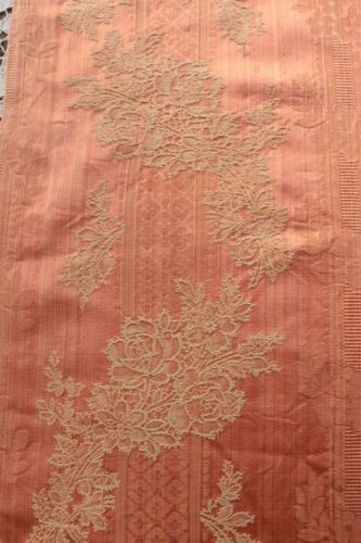 "Lovely French Pink Floral Antique Silk Fabric c1870~L-32"" X W-23"""