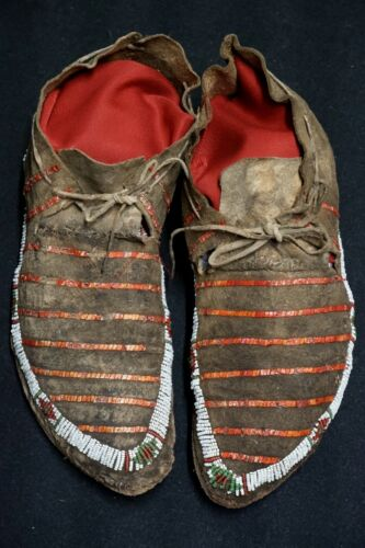 Antique Native American Beaded and Quilled Mocassins - Sioux Lakota