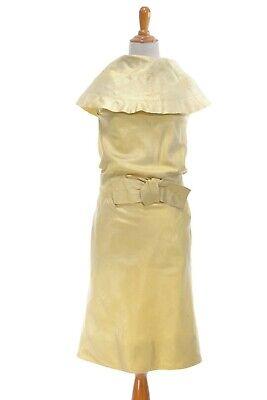 Size XXS TRUE VINTAGE 1960s dress 60s gold cocktail party retro costume - 1960 Clothes