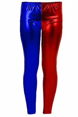 WOMENS HARLEY QUINN METALLIC LEGGINGS LADIES PLUS SIZE HALLOWEEN COSTUME OUTFITS (Harley Quinn Plus Size Kostüme)