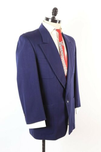 VTG 40s Rockabilly Blue Gabardine Wool Hollywood Waist Suit USA Mens Size 40