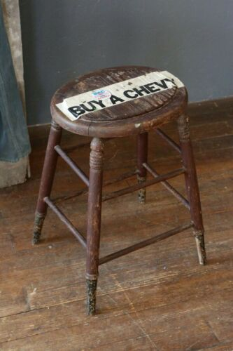 Antique Drafting Stool Chair Wood seat Chevy Decal Workbench counter desk bar