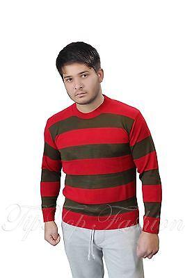 Jungen Herren Freddy Krueger Stil rot & grün Streifen Strickpullover Kostüm