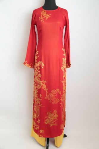 Ao Dai Vietnam - Red Metallic Light Gam Floral Ao Dai w/ Pants (Sizes Available)