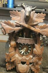 Hand Carved LADOR HUNTERS Black Forest German Musical Cuckoo Clock