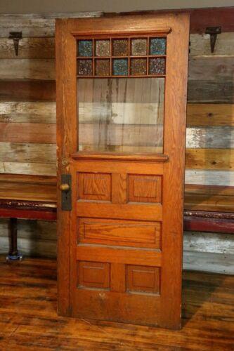 Antique Oak Entrance Door Stained glass window Original Hardware Brass Doorknob