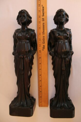 WONDERFUL PAIR OF ANTIQUE WOOD CARVED VICTORIAN WOMEN STATUES FIGURES