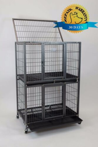 """New 31"""" Homey Pet 2 Tiers Heavy Duty Dog Pet Rabbit Cat Cage Crate Kennel w Tray"""