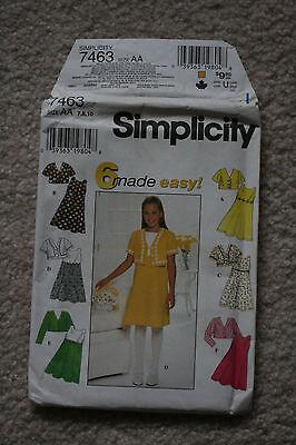 1997 Simplicity Sewing 7463 Girls Jacket Dress Size AA 7 8 10 Uncut Unfolded