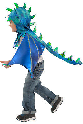 Dragon Costume Blue and Green Kids Sully Hooded Wings Cape 5 6 7 8 10 12 - Dragon Costume Kids