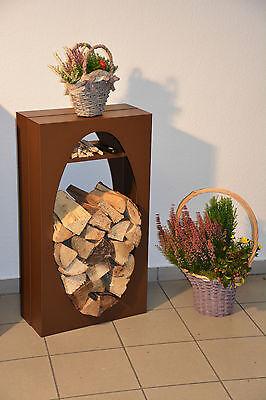 Kaminholzregal Brennholzregal Ofen Kaminofen Holzregal Holzlege OVAL mAF-corten - Ofen Ofen Regal