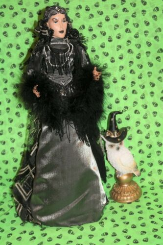 """HALLOWEEN  WITCH doll 24"""" in silver outfit and OWL"""