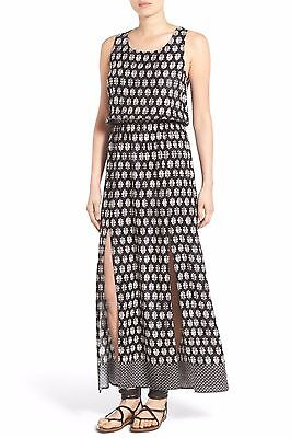 HICA PRINTED MAXI DRESS BLACK SIZE M LACE UP BACK BLACK (Chica Dress Up)