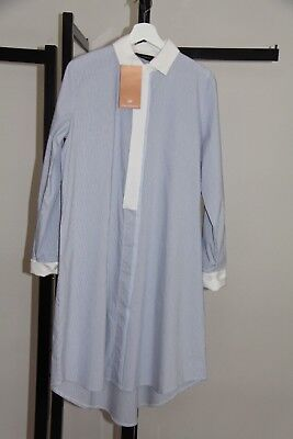 Modest Abaya Hijab Women's Striped Long Tunic Shirt  Dress Blue White New
